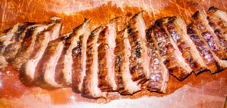 asian marinated flank steak sliced