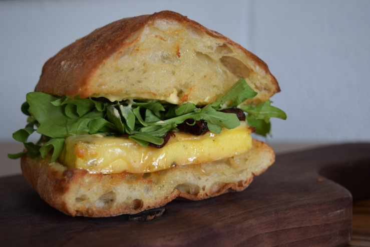Fox in snow egg sandwich